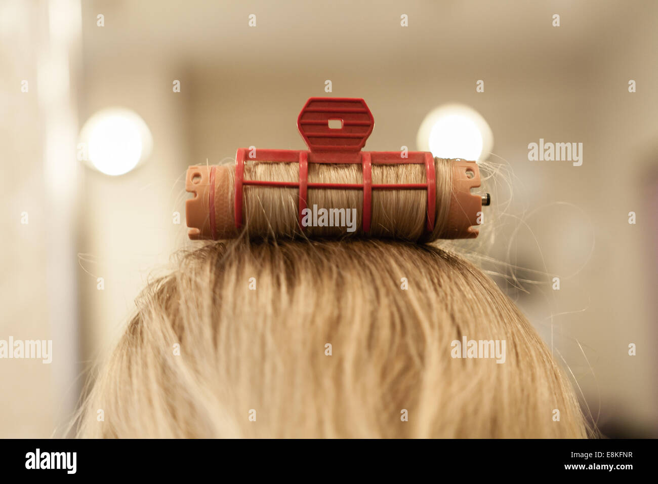Young caucasian woman at hairdresser service with wet hair and try roll hair into curl using rollers, back shot - Stock Image