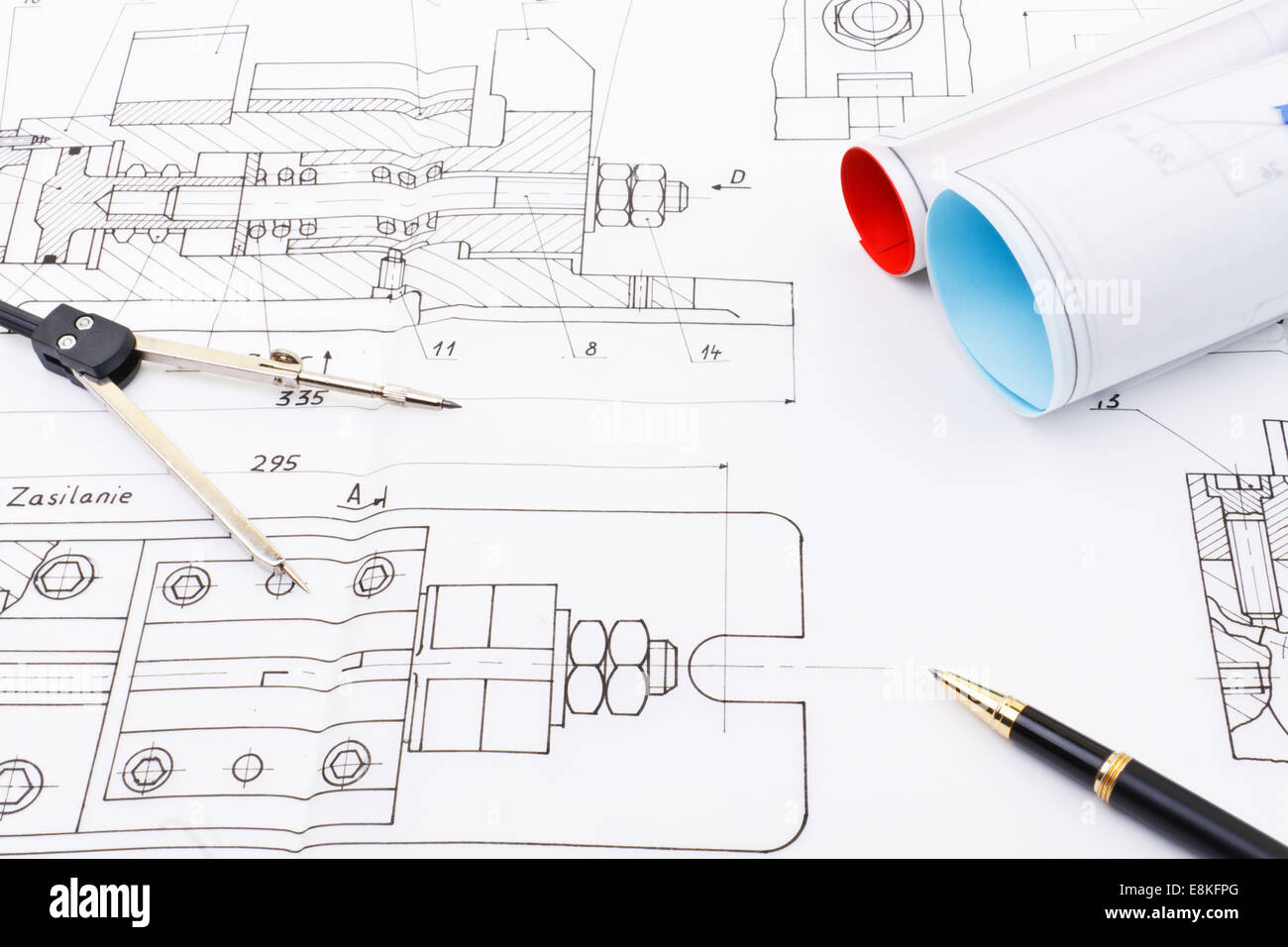 Blueprint drawing project of industry detail like bolt screw with blueprint drawing project of industry detail like bolt screw with compasses engineer measurement instrument and black ballpoint malvernweather Images