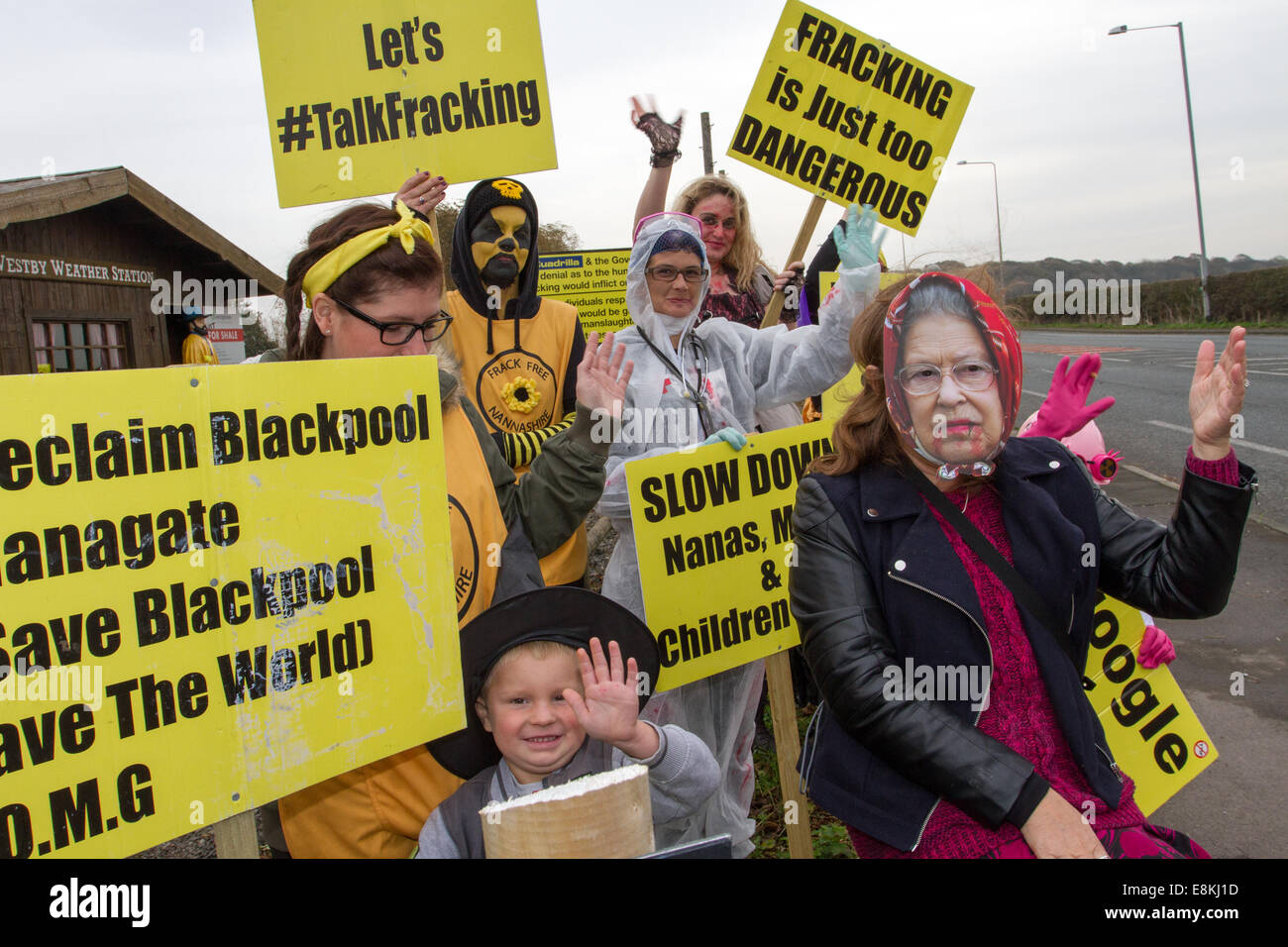Westby Nr Blackpool, Lancashire, UK 31st October, 2014. Local Residents opposed to proposed fracking demonstrate - Stock Image