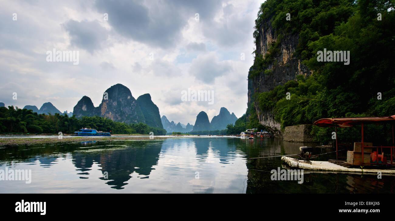 Beautiful river in Yangshuo Guilin in Guangxi province in China Stock Photo