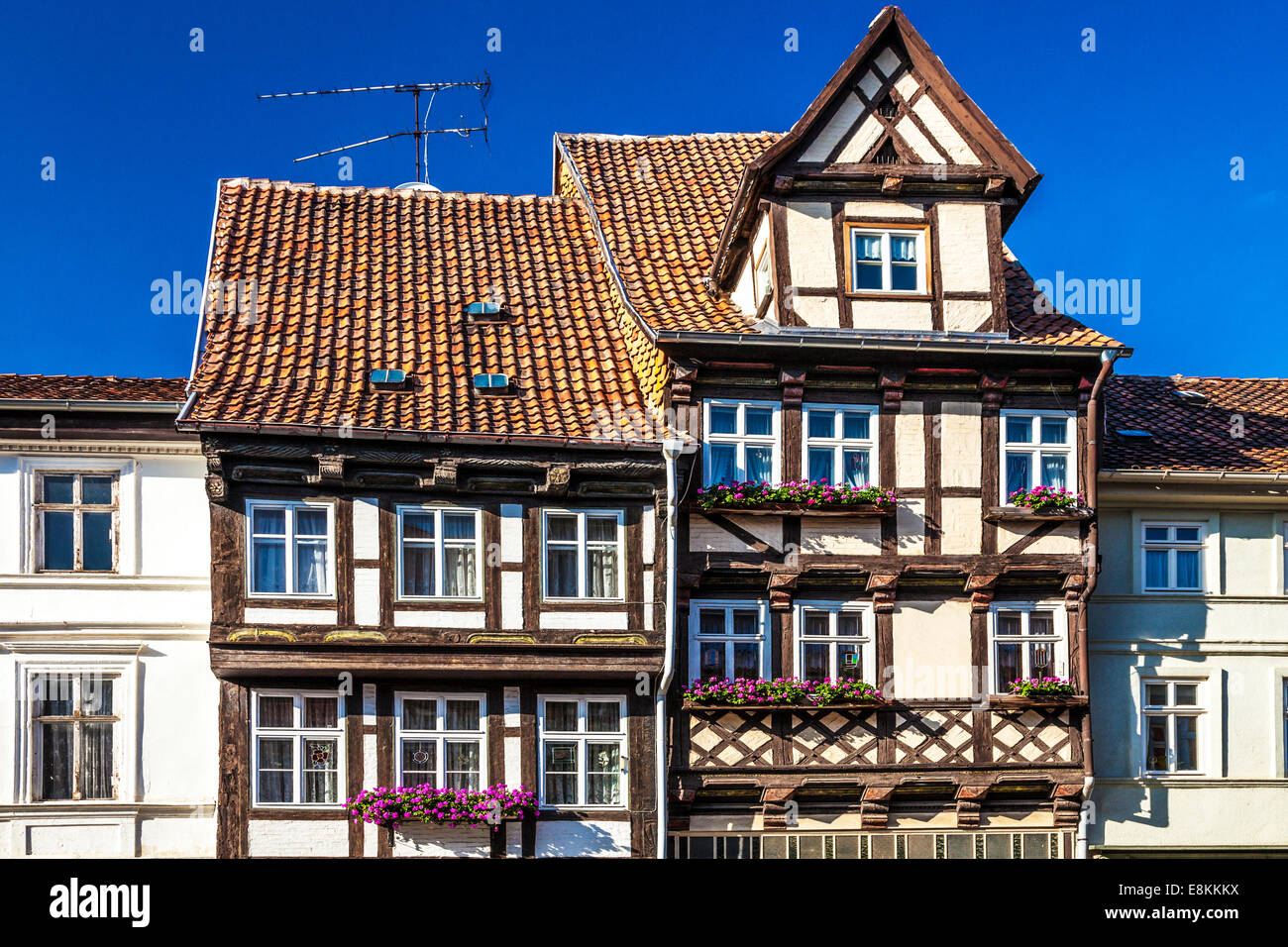 Half-timbered medieval houses in the UNESCO World Heritage town of Quedlinburg, Germany. - Stock Image