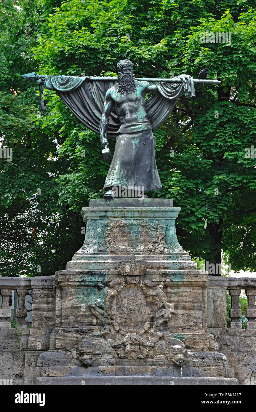 The Smith of Kochel, Monument to the Sendling's Night of Murder in 1705, Sendling, Munich, Bavaria, Germany - Stock Image