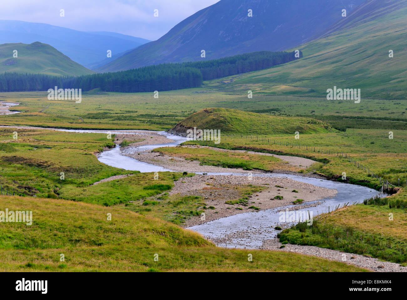 Typical landscape on the Clunie Water, Braemar, Aberdeenshire, Grampian, Scotland, United Kingdom - Stock Image
