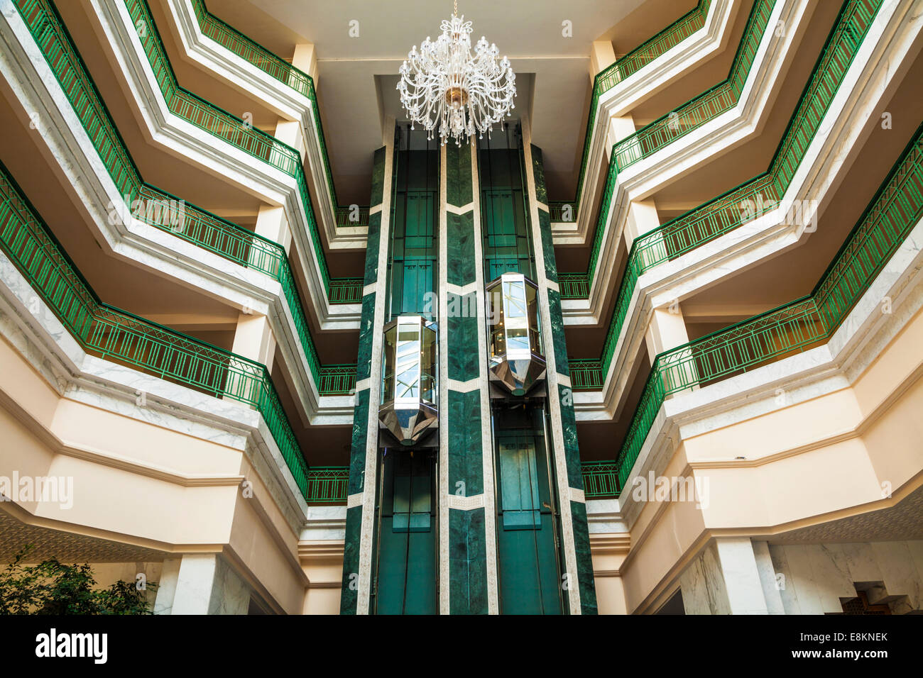 An abstract image of the lift and floors in a five star resort hotel near Port el Kantoui in Tunsia. - Stock Image