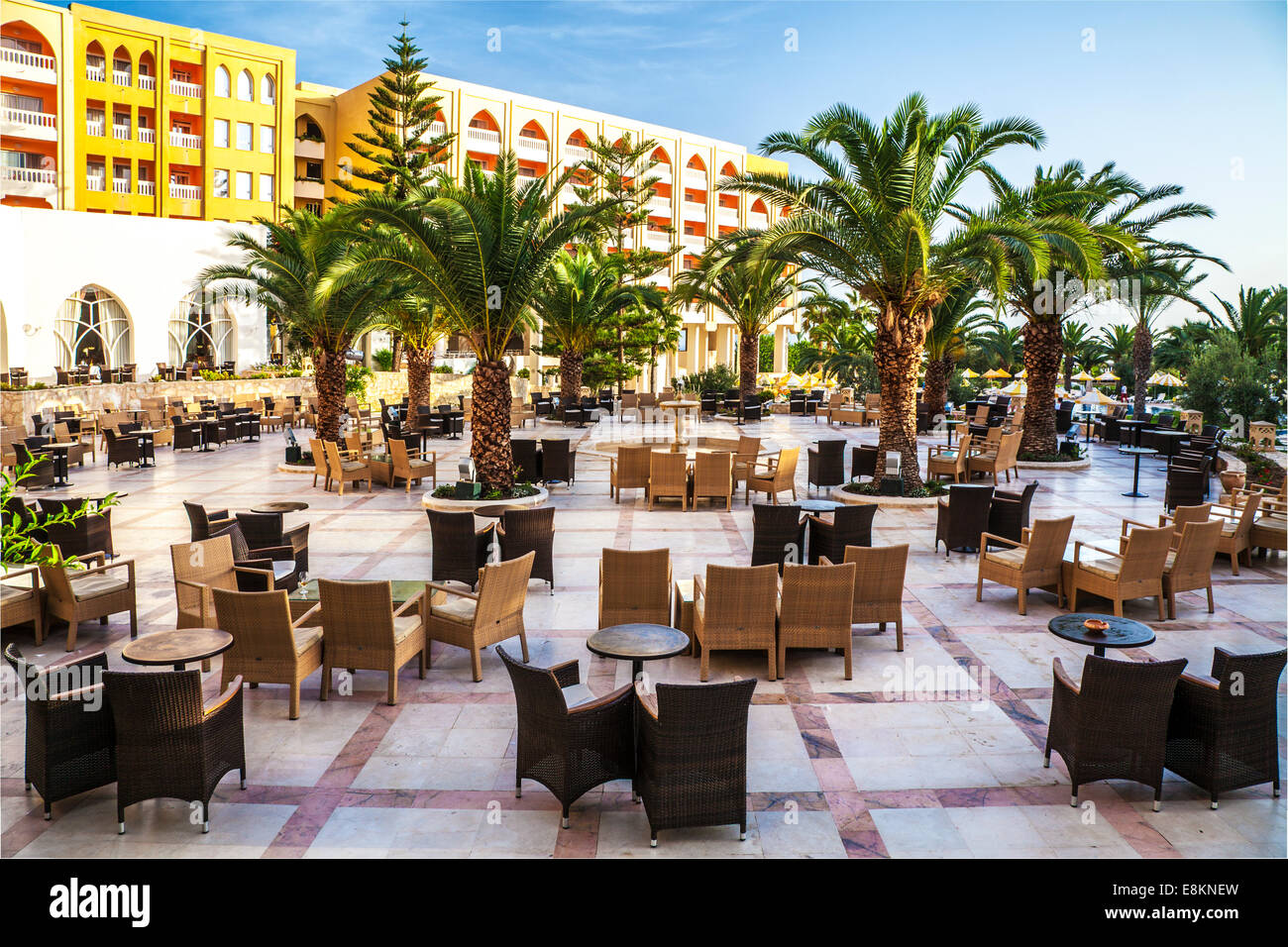 Outside bar area of a five star resort hotel near Port el Kantoui in Tunsia. Stock Photo