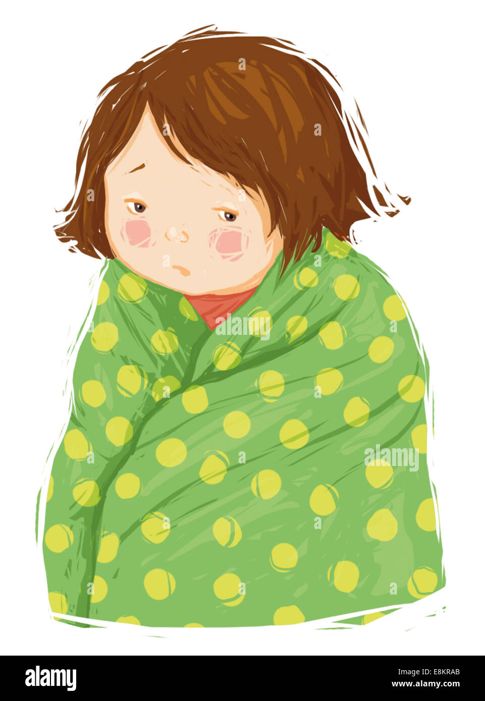 A young girl with a temperature. - Stock Image