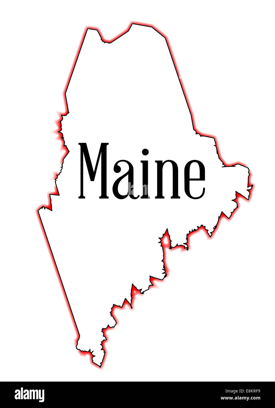 Outline Map Of The State Of Maine Over White Stock Photo 74194269