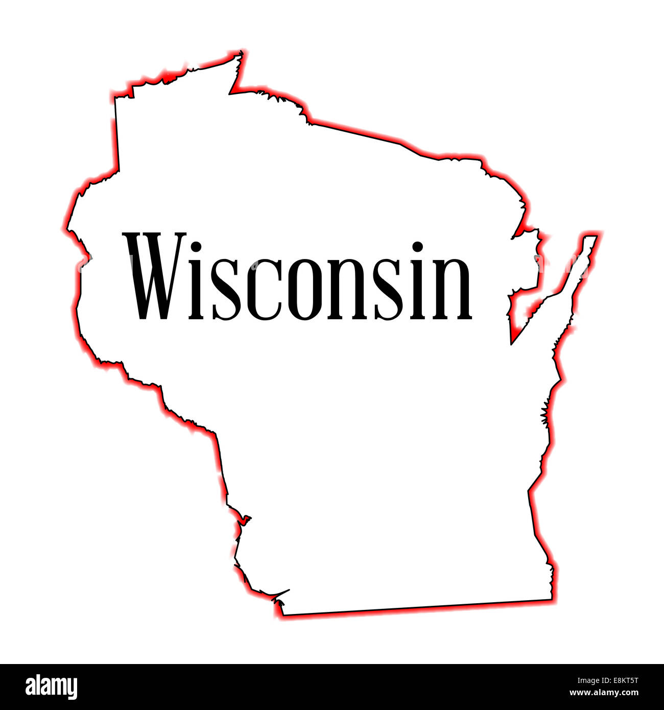 Outline map of the American state of Wisconsin Stock Photo