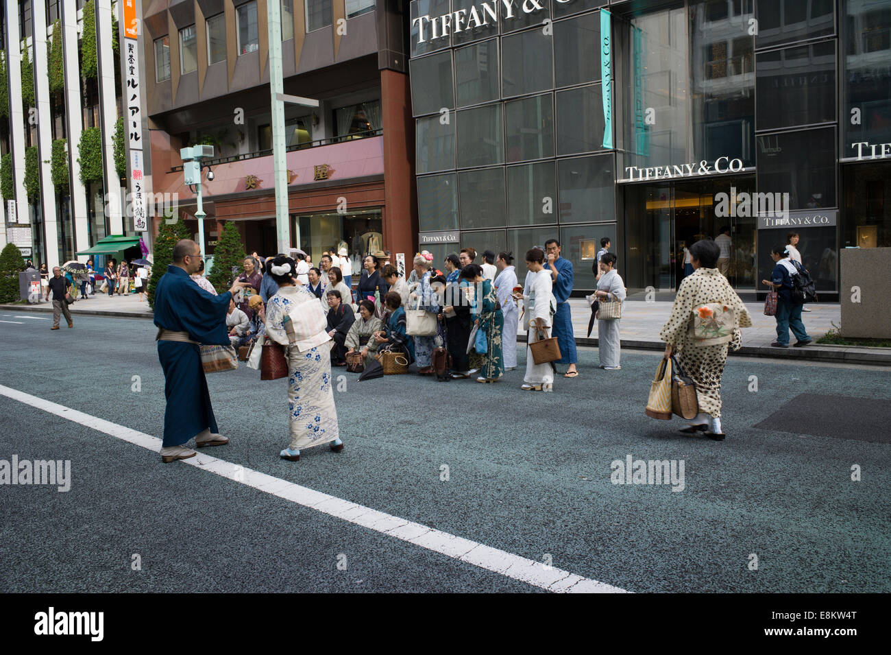 342f9856f Japanese in traditional costume posing outside Tiffany & Co, Ginza, Tokyo,  Japan.