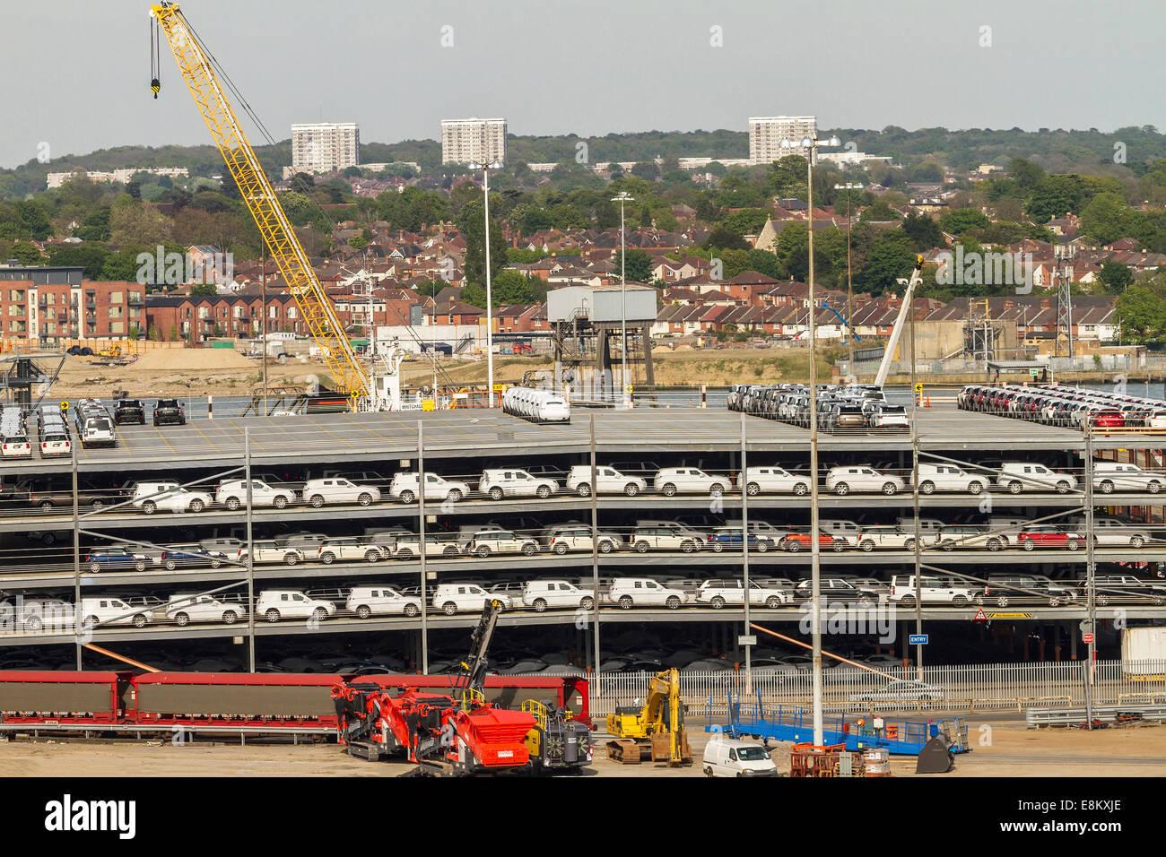 Car Imports Southampton Docks UK - Stock Image