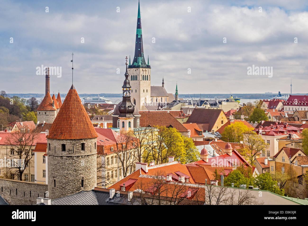 Rooftop Scene Tallinn Estonia - Stock Image