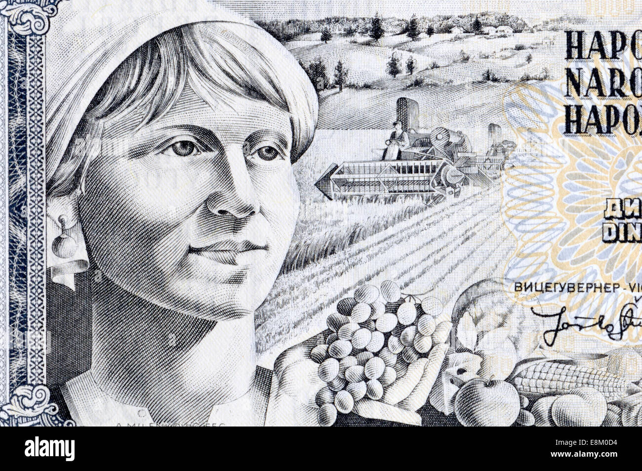 Detail from a Yugoslav 1000 dinar 1980s banknote showing a female farm worker - Stock Image