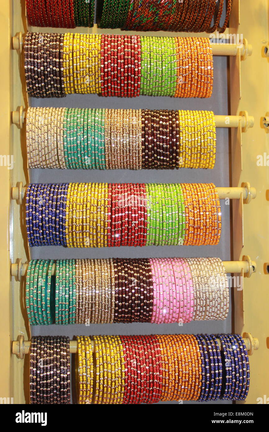 Indian Bangles on Stand - Stock Image
