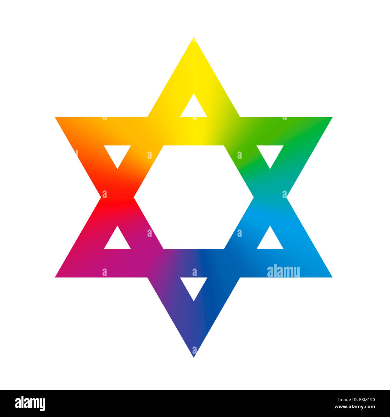 Star of David symbol with circular rainbow gradient coloring. - Stock Image