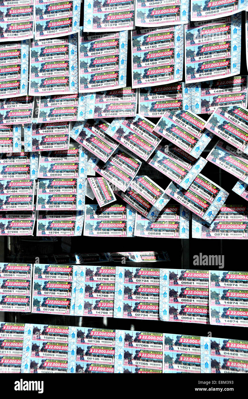 lottery tickets in window Montevideo Uruguay - Stock Image