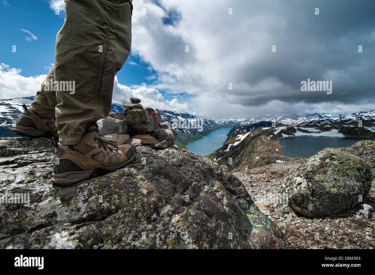 The extraordinary hiking of Besseggen in the norwegian national park of Jutenheim - Stock Image