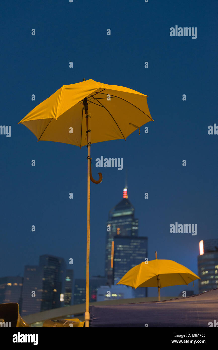 October 10 2014 Hong Kong  Yellow umbrellas - Stock Image