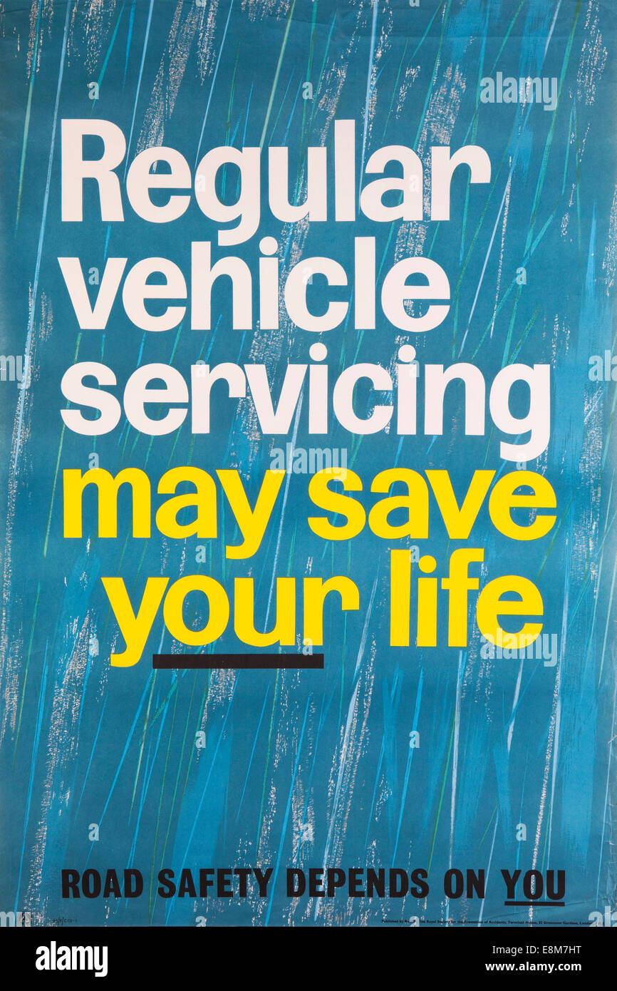 Road Safety, 1960s ROSPA road safety poster, regular servicing may save your life - Stock Image