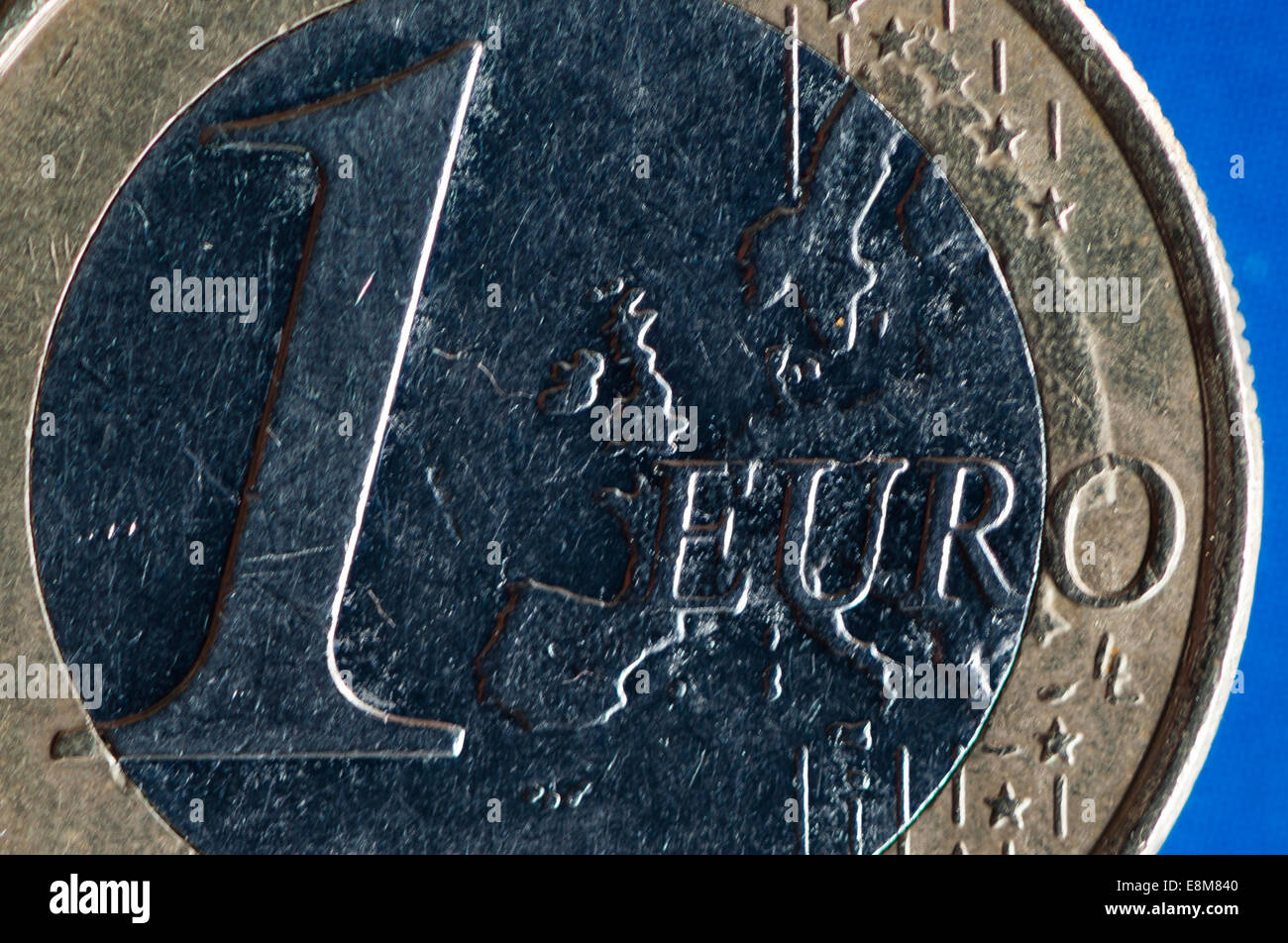 close-up of a One Euro (1 EUR) coin - Stock Image