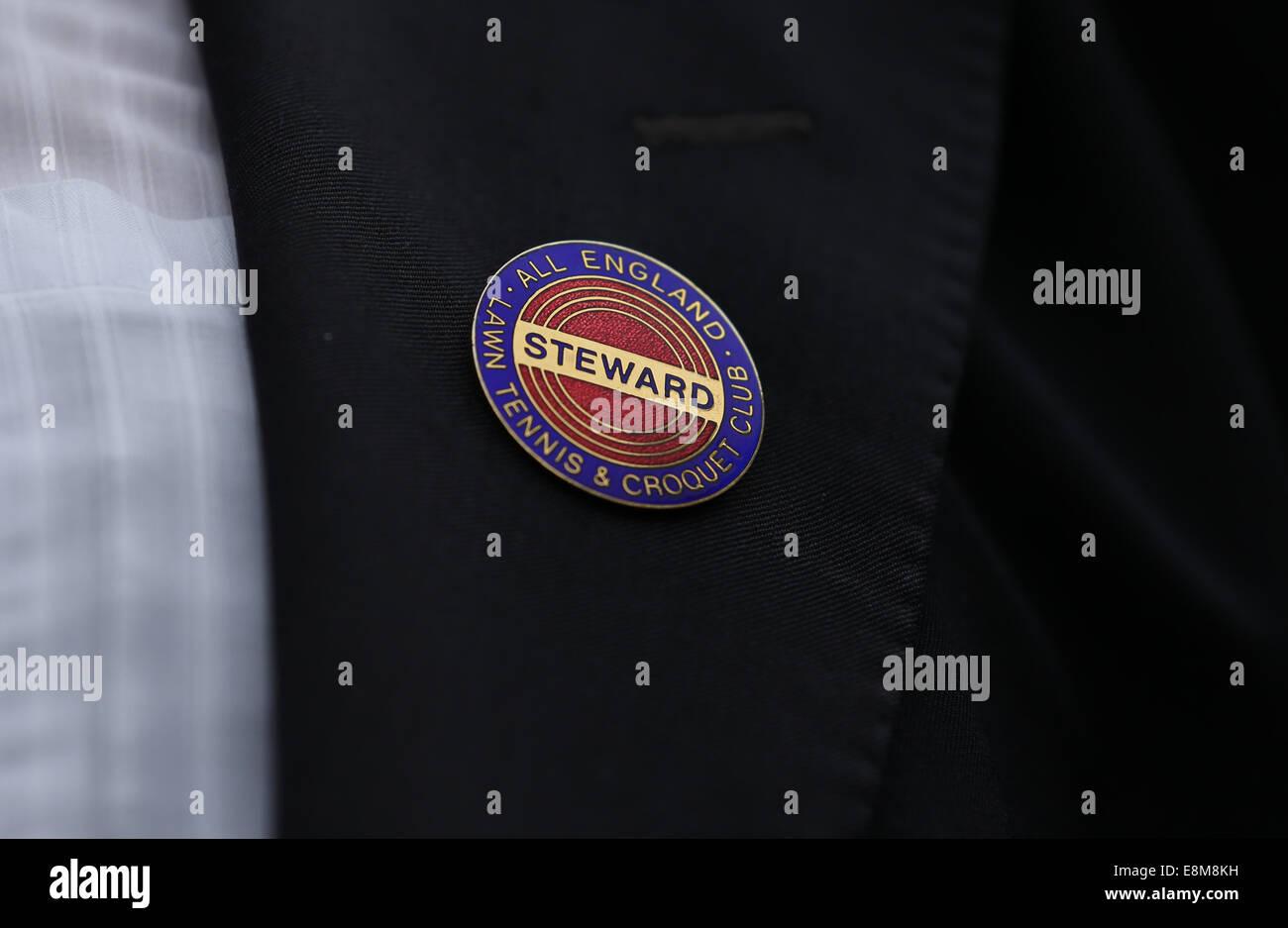 Close up of a Stewart badge at the Wimbledon Championships 2014, London,England. - Stock Image