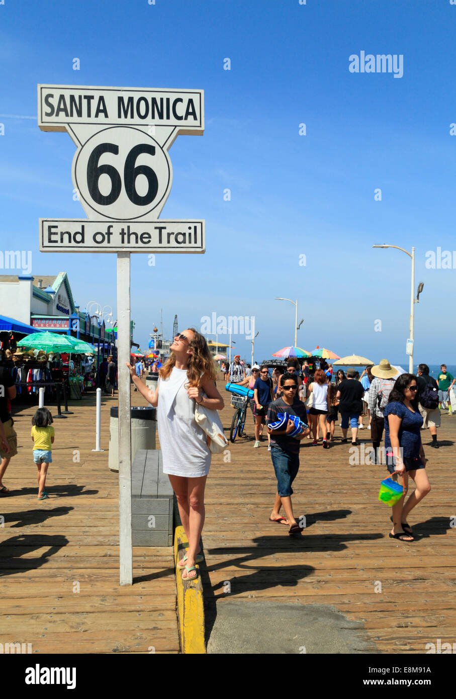 end of route 66 at pier in santa monica, los angeles, california