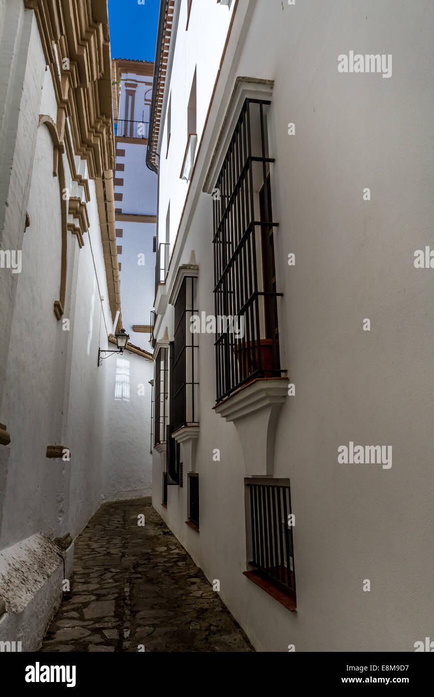 Narrow streets in Grazalema, Andalucia, Spain - Stock Image