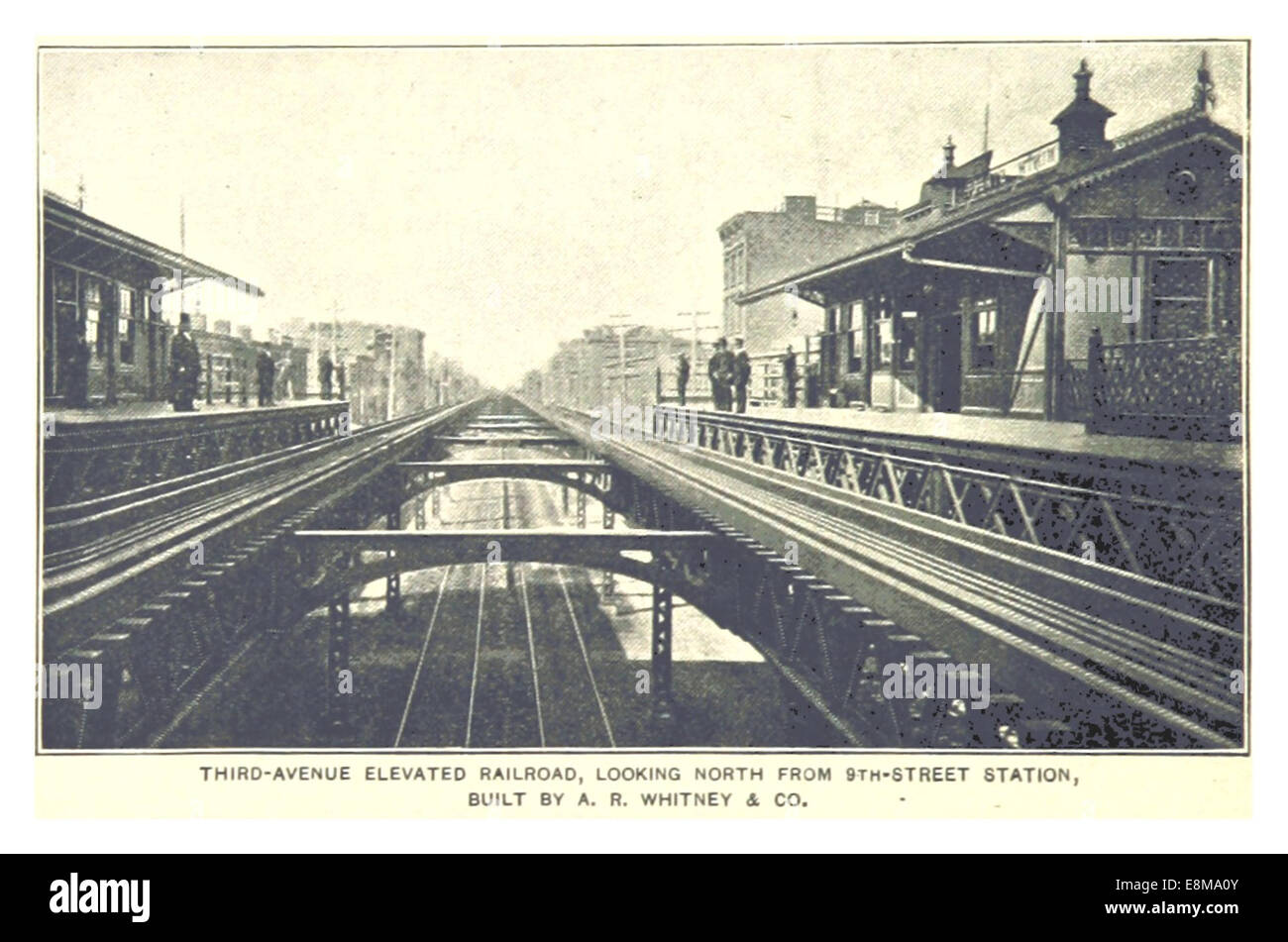 (King1893NYC) pg988 THIRD-AVENUE ELEVATED RAILROAD, LOOKING NORTH FROM 9TH-STREET STATION - Stock Image