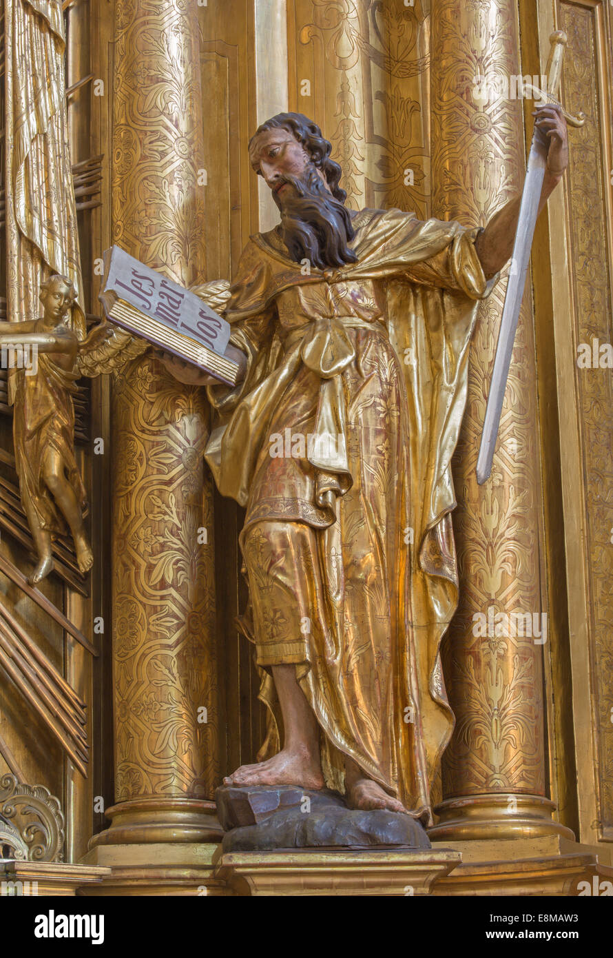 TRNAVA, SLOVAKIA - MARCH 3, 2014: The polychrome statue of saint Paul the apostle in the Jesuits church. - Stock Image