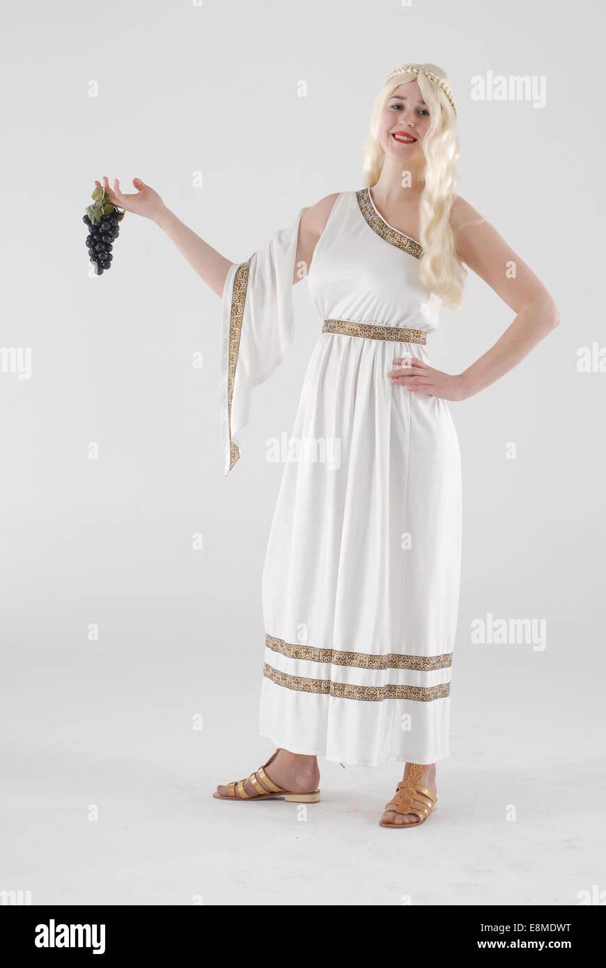 084ead66b girl dressed in fancy dress comedy costume as a roman   edyptian lady in a  white skirt
