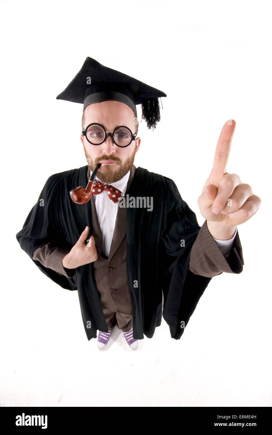 Funny man dressed in fancy dress as a comedy school professor with ...