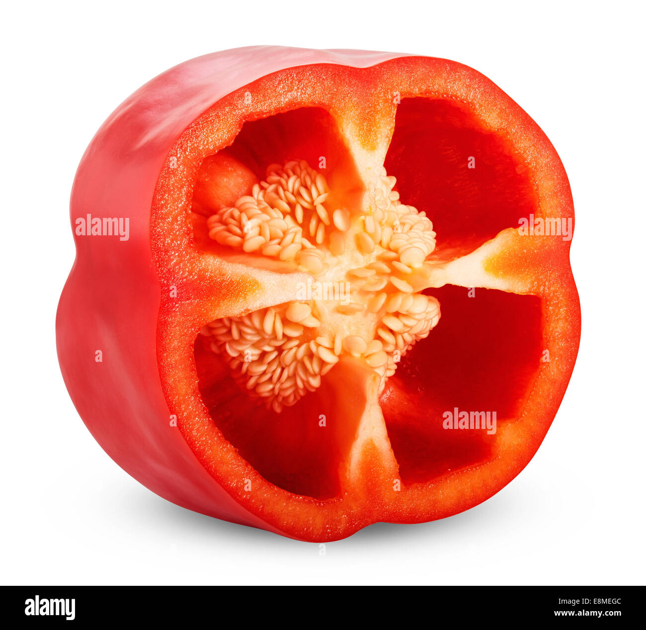 red pepper slices on white background. Clipping Path - Stock Image