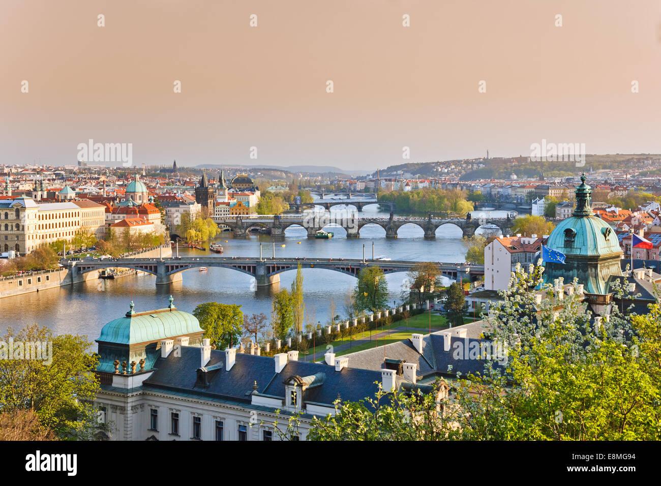 Prague at sunset - Stock Image