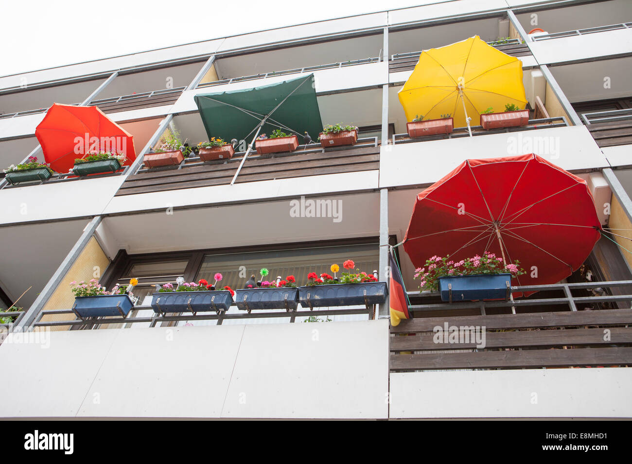 Facade with planted balconies and sun shades, Linden, Hanover, Lower Saxony, Germany, Europe, Stock Photo
