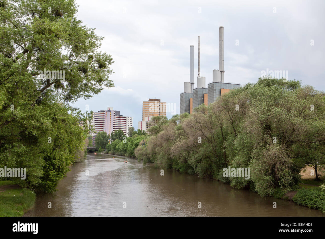 Heating plant, Ihme River, Linden, Hanover, Lower Saxony, Germany, Europe - Stock Image
