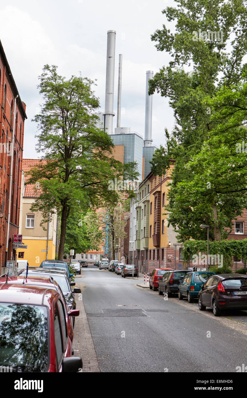 Streetview with heating plant, Limmer, Hanover-Linden, Lower Saxony, Germany, Europe, - Stock Image