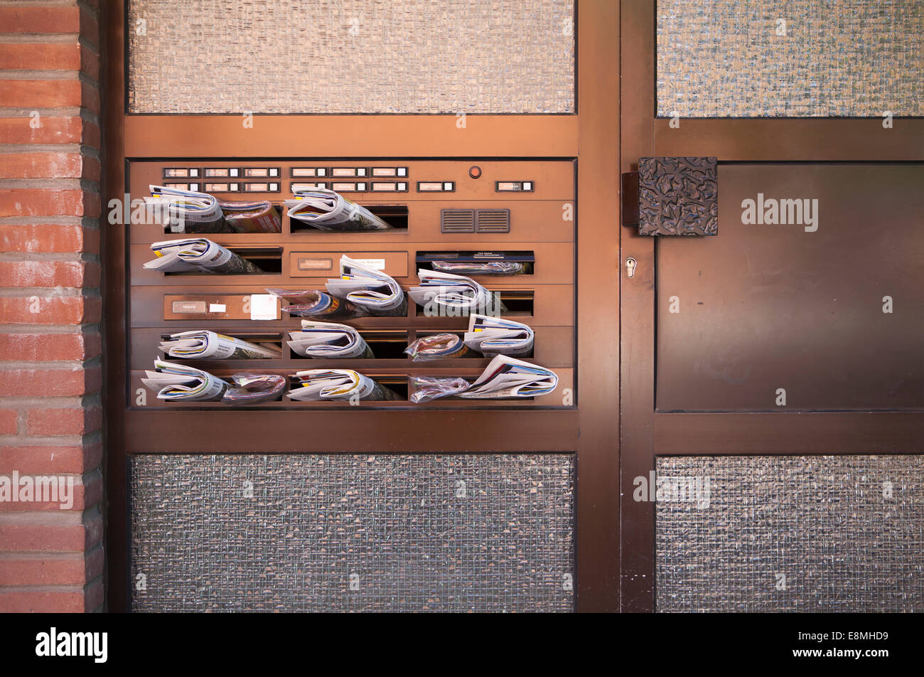 Advertising in stuffed mailboxes, Linden, Hanover, Lower Saxony, Germany, Europe, - Stock Image