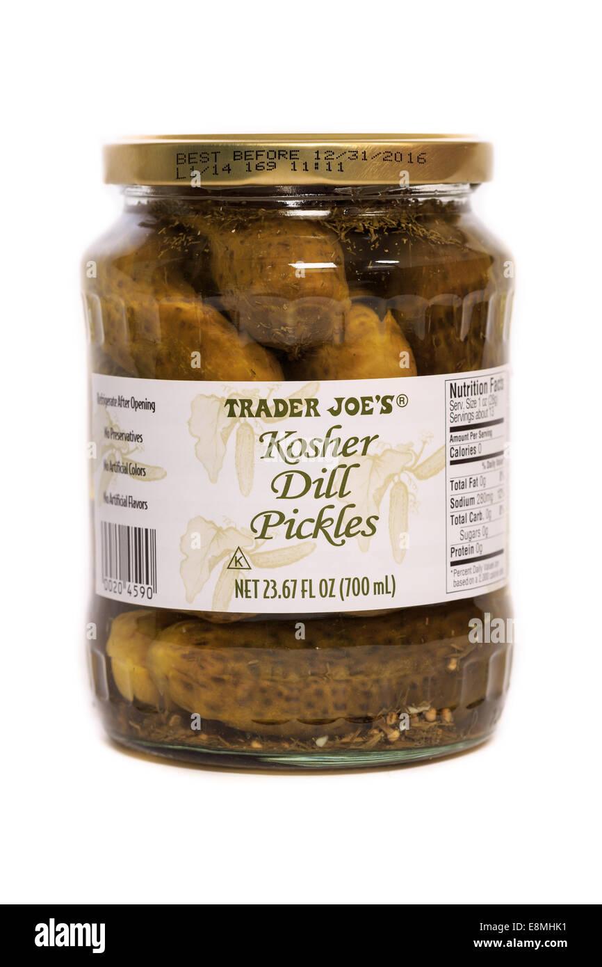 A jar of Trader Joe's brand Kosher Dill Pickles - Stock Image