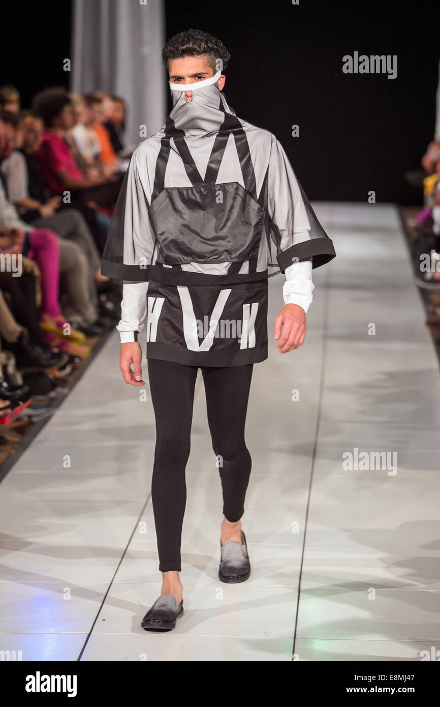 This is the annual catwalk show for Brighton Fashion Week 2014 featuring Sustainable Clothing and Zeitgeist Fashion - Stock Image
