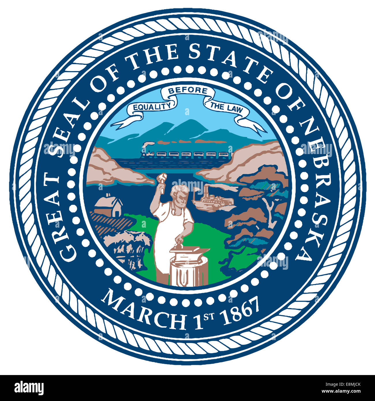 The seal of the American state of Nebraska - Stock Image