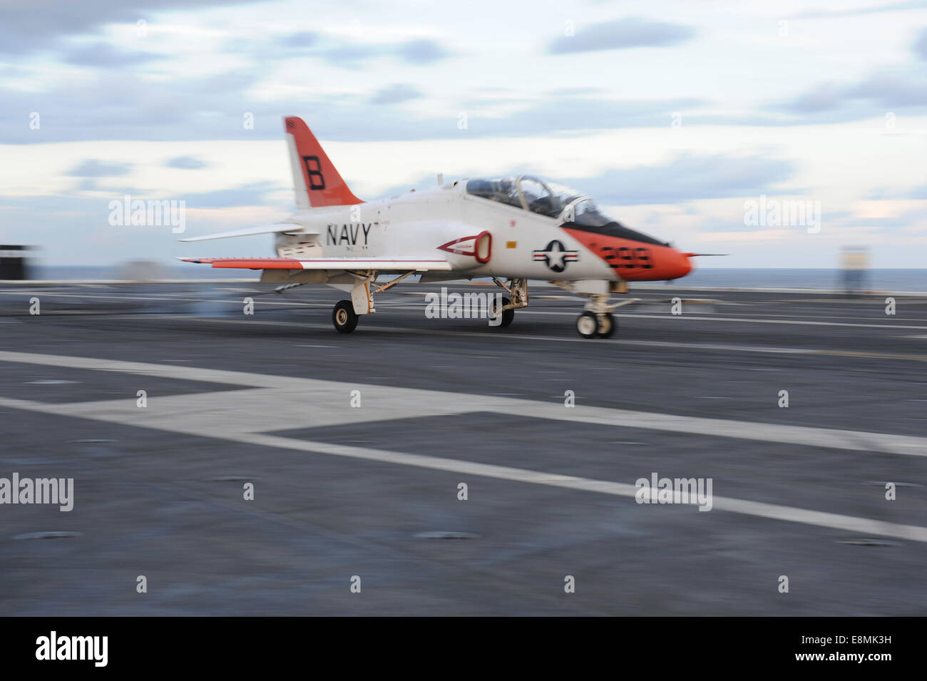 Atlantic Ocean, October 30, 2013 - A T-45C Goshawk is launched from the flight deck of the aircraft carrier USS - Stock Image