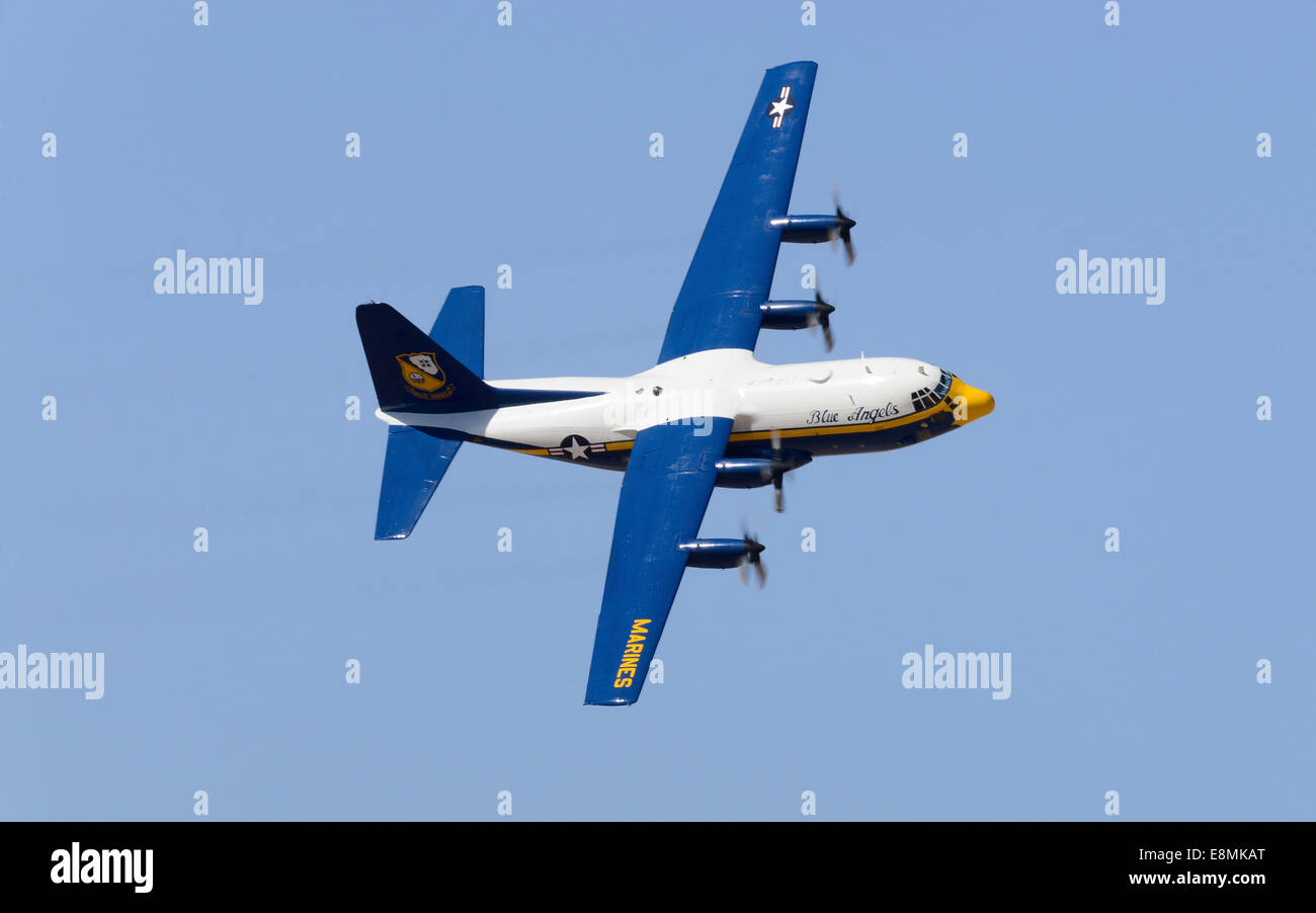 March 15, 2014 - U.S. Navy flight demonstration squadron, the Blue Angels, Marine Corps C-130 Hercules, affectionately - Stock Image