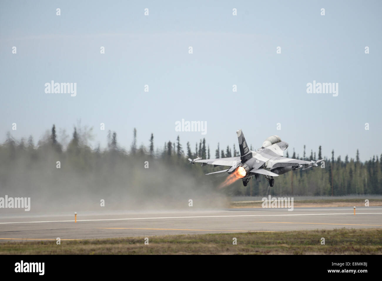 May 13, 2014 - An F-16 Fighting Falcon takes off during Red Flag Alaska 14 at Eielson Air Force Base, Alaska. Stock Photo
