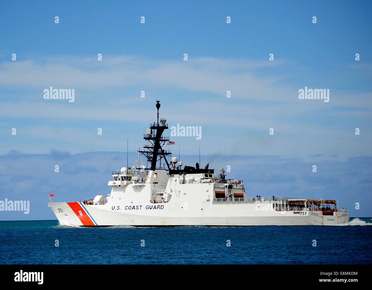 July 9, 2014 - The national security cutter USCGC Waesche (WMSL 751) departs Joint Base Pearl Harbor-Hickam, Hawaii, - Stock Image