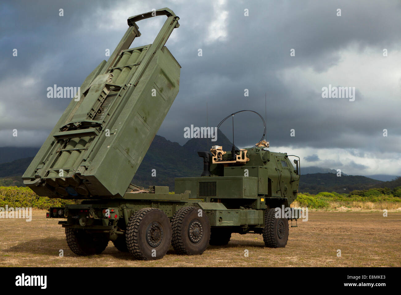 A M142 High Mobility Artillery Rocket System (HIMARS) conducts dry fire exercises in support of infantry units in - Stock Image