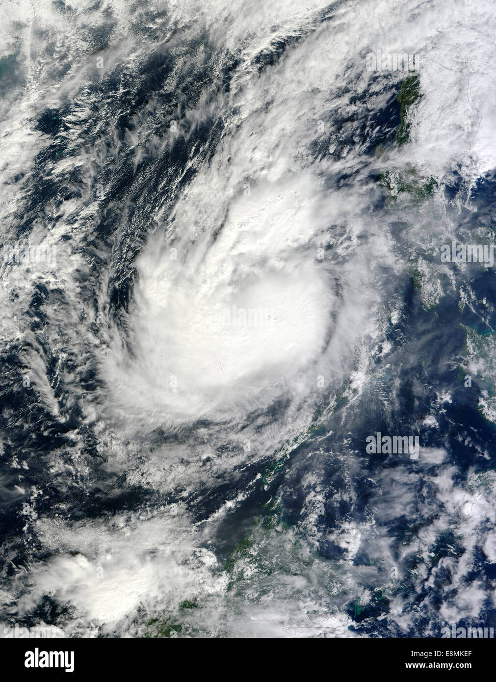December 6, 2012 - Typhoon Bopha over the South China Sea after passing over the southern Philippines and island - Stock Image
