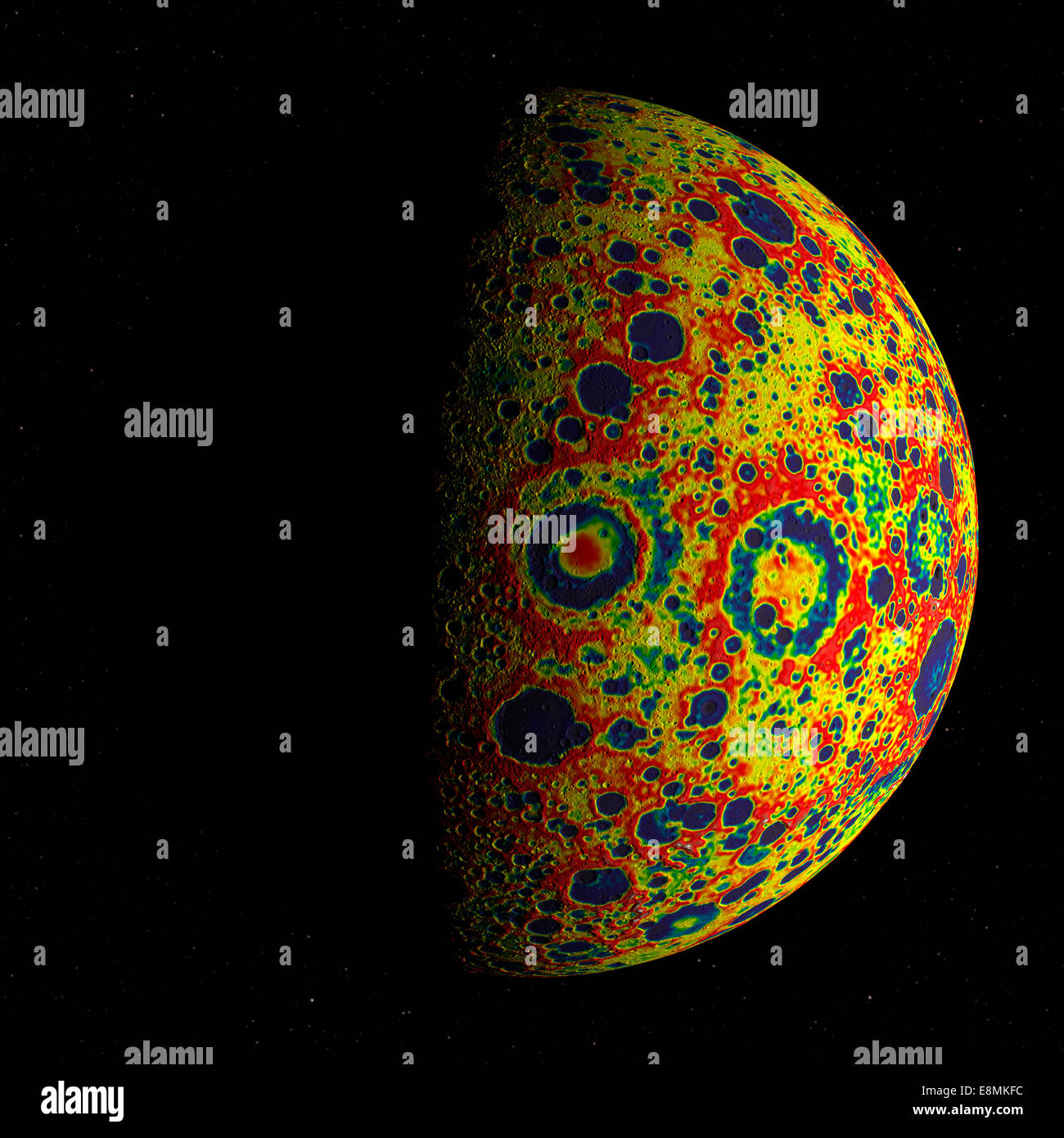 The GRAIL free-air gravity map of the Moon, rendered on the Moon's surface as it floats in front of a starry - Stock Image