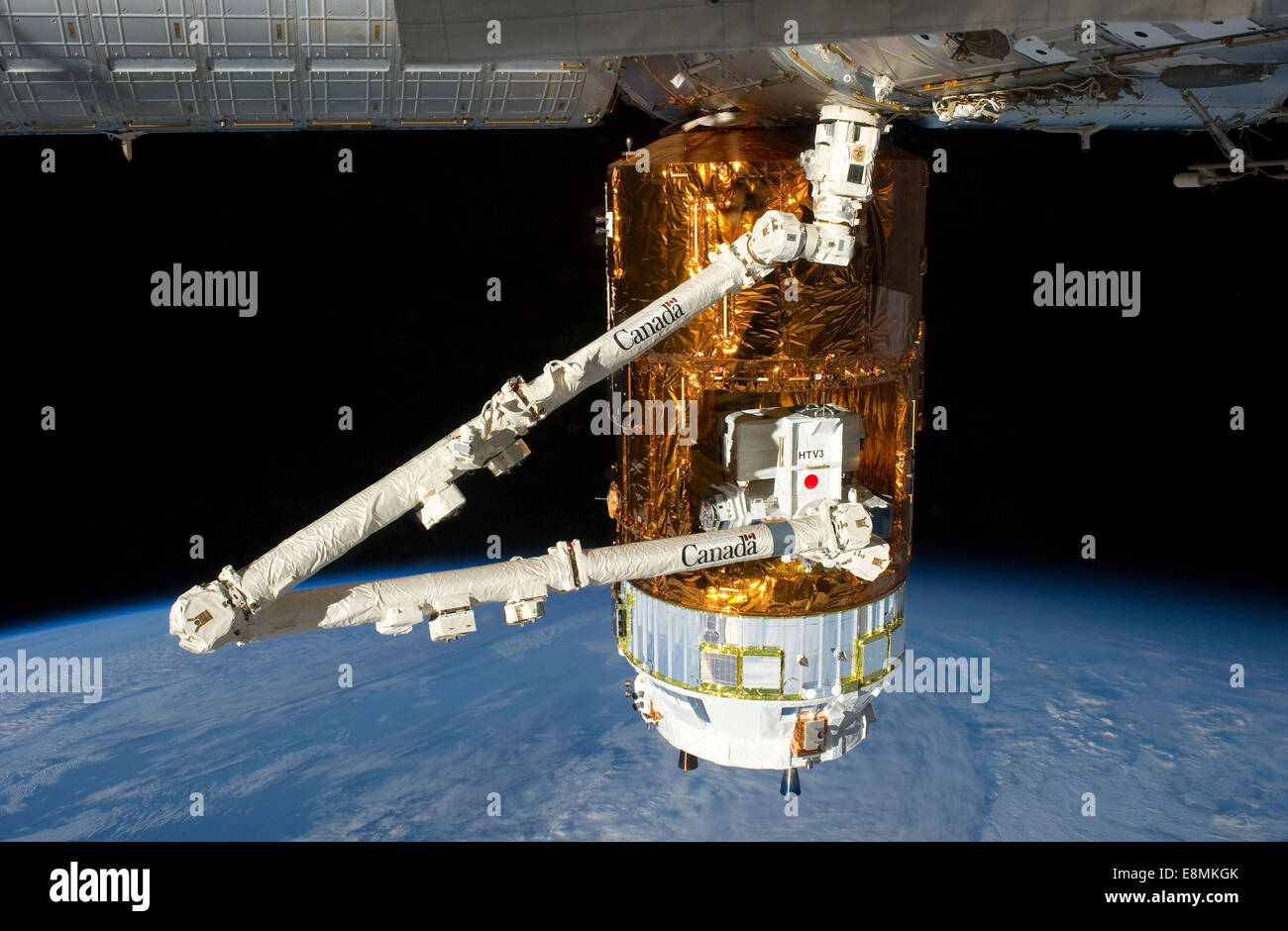 July 29, 2012 - The Japan Aerospace Exploration Agency (JAXA) H-II Transfer Vehicle (HTV-3), currently attached Stock Photo