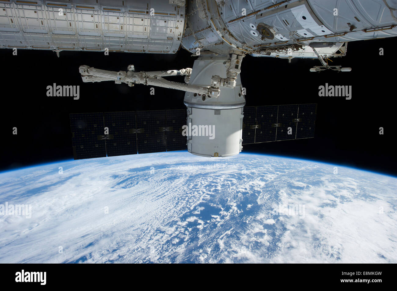 March 3, 2013 - View of the SpaceX Dragon during its approach and docking with the International Space Station. - Stock Image