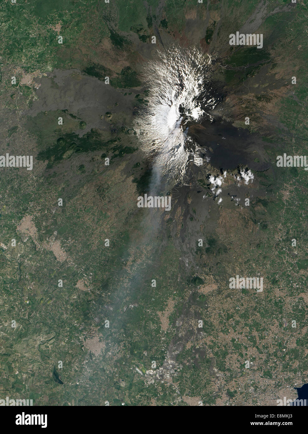 April 18, 2013 - Craters near the summit of Mount Etna streamed ash and volcanic gases shortly before the volcano's - Stock Image