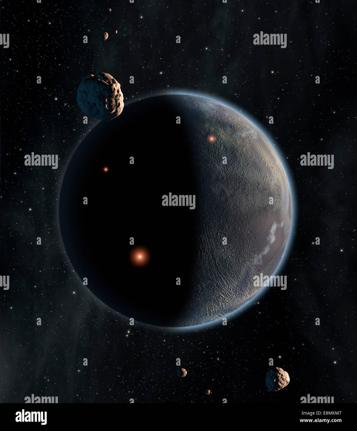 Artist's concept of an Earth-like planet rich in carbon and dry. Chances are low that life as we know it, which - Stock Image